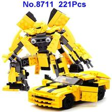 Gudi 8711 221pcs Transformation Robot Bumble Bee 2 In 1 Auto Robot Building Blocks Brick Toy