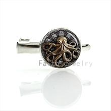 Steampunk sealife Octopus hairgrips cool comics animation movie hairpin Silver Plated marine life hair clip pins jewelry T476