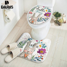 SDARISB 2pcs Set Cartoon Cute Toilet Bath Mat Rabbit Animal Pattern Bathroom Set Mat Suede Anti-slip Toilet Cover Bath Sets(China)