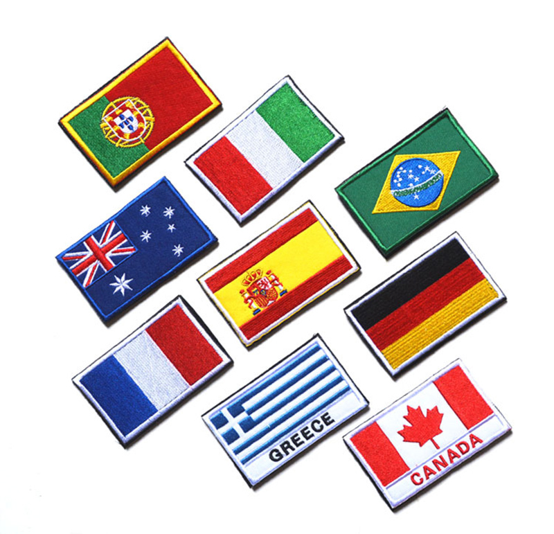 embroidery patches for clothes 5*8cm Russia National flag patches sewing on clothing bags plastic washable Nation patches