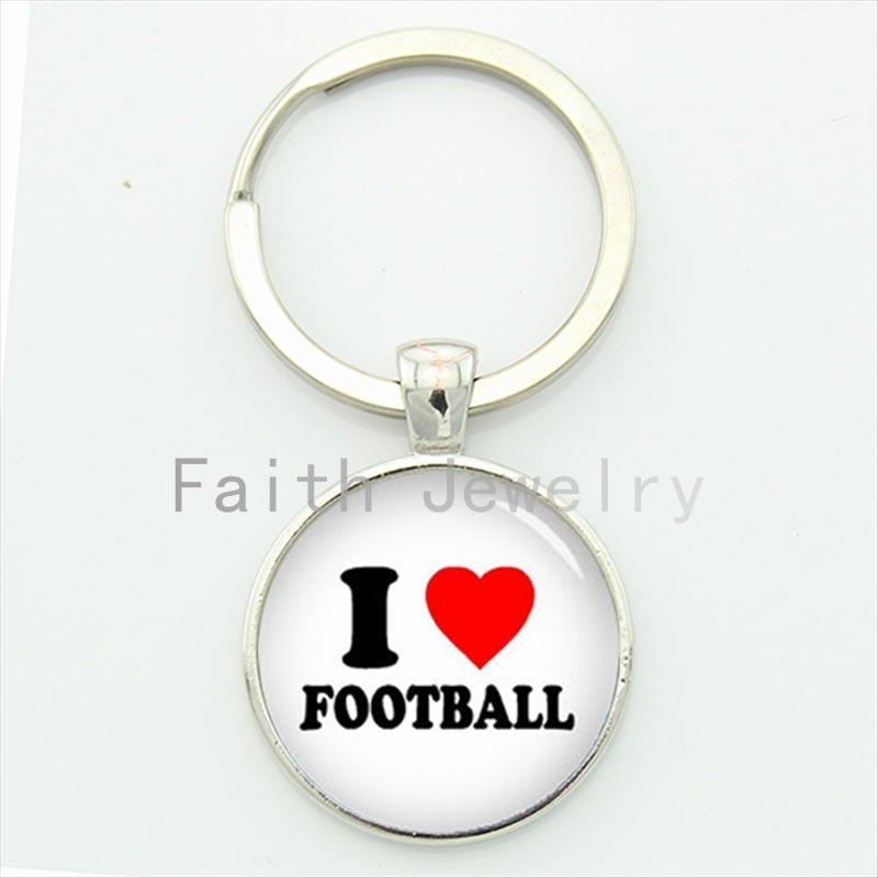 I love football key chain charming red heart keychain unique interesting design sports jewelry ball fans gifts KC428(China)