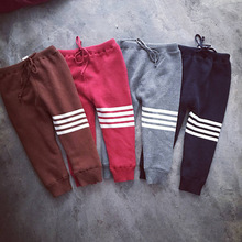 Boys Pants Girls baby harem pants Winter Thick velvet Cotton Kids Pants Children Striped Sport Trousers Warm Tracksuit Kid dress