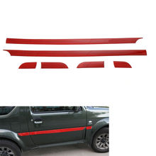 Decoration 6Pcs Car Body Door Side Molding Cover Trim Styling Sticker Red ABS Fit For 2007-2015 Suzuki Jimny(China)