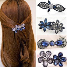 haimeikang New Hot Fashion Women Girl Cute Colorful Shinning Crystal Rhinestones Bows Hairpin Flower Hair Clip Jewelry Wholesale