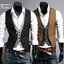 LANZOOM 2017 Brand fashion men suit vest waistcoat good quality false double layer sleeveless slim fit dress vests mens size 2XL