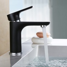 Single Handle Bathroom Sink Faucet solid brass Basin Mixer Taps,Black Finish