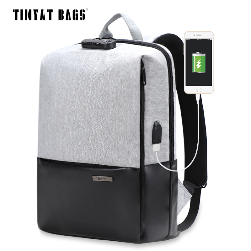 TINYAT Mens laptop backpack for 15.6inch USB Charging Male Anti-Theft backpacks Gray Canvas Leather Daypack Women Mochila T812<br>