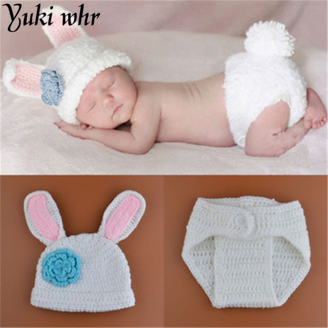 New Styles Baby Rabbit Costume Flower Hat Newborn Crochet Outfits Photography Props Photoshoot