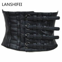LANSHIFEI New women ultra wide adjustable slim body corset belt black PU leather retro design comfortable elastic belts