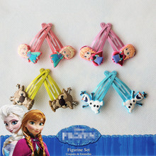 1Pair=2PCS Hot Lovely Princess Anna Elsa Boutique Hairpins Cartoon Girls Hair clips Baby barrettes Children Hair Accessories