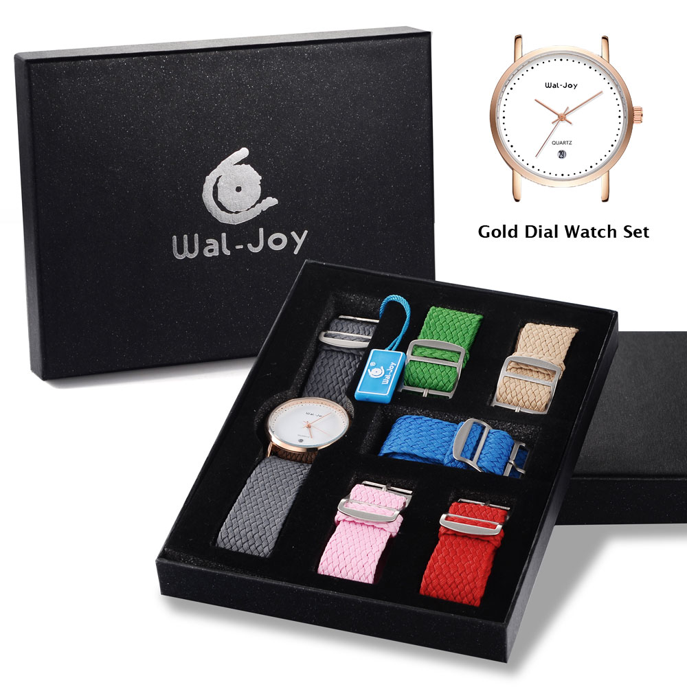 Wal-Joy Brand Women Casual Watch Set Water Resistant Calendar Case Female Stylish 6 color Nylon Straps Wristwatch lady (WJ-9007)<br>