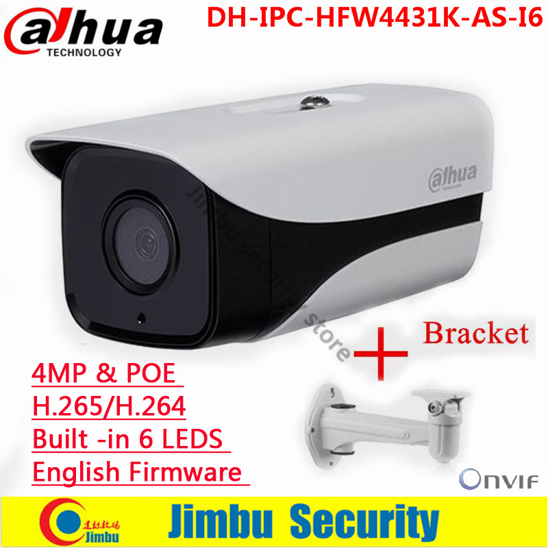 Dahua Original 4MP ip camera support POE SD Card slot Audio/Alarm 1/1 channel I/O IR Bullet camera IPC-HFW4431K-AS-I6<br><br>Aliexpress