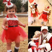 toddler infant newborn bling party Red Green Baby Girls Rompers Jumpsuit Santa Tutu Dress Christmas Outfits Costume cosplay
