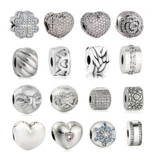 Buy 2017 Valentines Day Pave Charms Fit beads Bracelets DIY 925 Sterling Silver Open Heart Beads DIY Fine Jewelry Making for $10.97 in AliExpress store