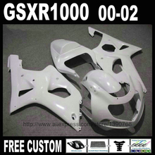 All glossy white body kit for SUZUKI fairings 2000 2001 2002 GSXR1000 Injection molding fairing set K2 GSXR 1000 00 01 02 YH43