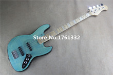 Hot sale 20 frets 4 strings transparent blue electric bass with acrylic pickguard,flame maple veneer,can be changed