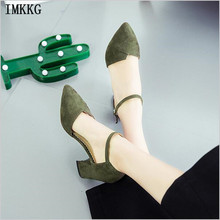 IMKKG top classic design women pumps 2017 black pointed toe thick heels ankle strap fashion woman office shoes s048