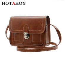 HOTAHOY Fashion new Korean high-quality PU leather handbags women bag small square package Sweet  Solid shoulder bag
