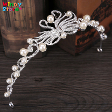 Trendy Bridal Hair Jewelry Silver Color Swans Designs Small Pearl Tiaras Crown For Wedding Bride Cake Tiara Headdress Girls(China)