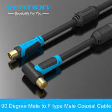 Vention 90 Degrees Male to F type Male Coaxial TV Satellite Antenna Cable