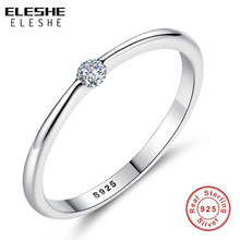 Buy ELESHE Authentic 925 Sterling Silver Rings Round Zirconia Crystal Finger Rings Women Wedding Original Silver Jewelry for $2.94 in AliExpress store