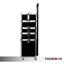 Facebox Brand Black 4-in-1 Cosmetics Beauty Hairdressing Vanity Trolley Box Case
