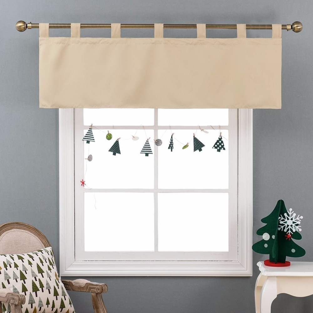 NICETOWN Modern Home Decorations Thermal Insulated Solid Blackout Tab Top Valance Curtain / Drape for kitchen Window(China (Mainland))