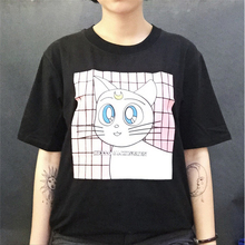 Harajuku Fashion Style Kawaii Cartoon Cat Printed Female T-shirt Short Sleeve Women Tops Leisure Summer Best Friends T shirt XL(China)