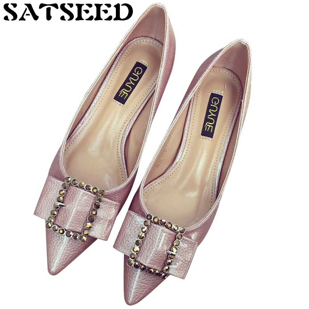 Korean Ladies Women Shoes Pointed Toe Autumn Pumps Buckle Leather Bow Shallow Mouth Stilettos High Thin Heel Slip On Fashion New<br>