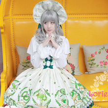 Japonés lindo lolita cosplay impresión jsk sweet girls postre matcha tea party dress