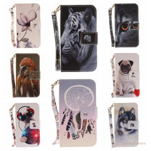 Black Cat Tiger Wolf Pug Leopard Monkey Magnolia Animal Flip Wallet PU Leather Phone Case Cover for Huawei P8 Lite(China)