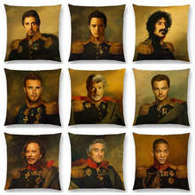 Hollywood Super Film Stars Portrait Gentleman Retro Military Dress Replaceface Prints Cushion Cover Decor Sofa Throw Pillow Case