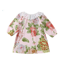 Buy Sweet Newborn Baby Girl Floral Lace Dresses Kids Cotton Long Sleeves Party Pageant Princess Dresses Cute Clothes for $4.03 in AliExpress store