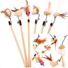 Pet Products Supplies Wooden Cat Playing Toys Stuffed Ball Mouse Feather Dangle Rod Bell Funny Hot Sale 1PC