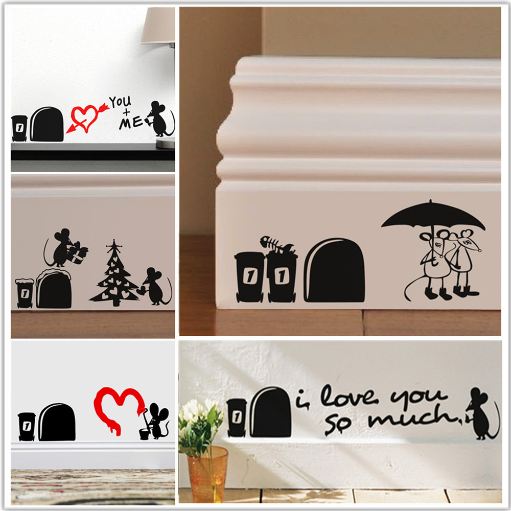 1set cute mouse holes wall sticker stairs vinyl decal art graphic any room FO