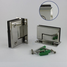 2 pc glass shower room door hinge chrome wall to glass beveled edge 180 degrees open(China)