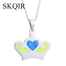 Buy SKQIR New Design Colorful Crown Pendant Necklace Silver Color Stainless Steel Chain Fashion Choker Necklace Jewelry Women for $3.99 in AliExpress store