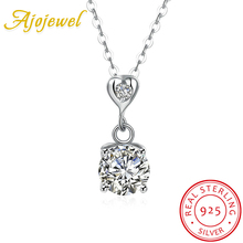 Ajojewel Delicate 925 Sterling Silver Heart Necklace Female Zircon Jewelry With 3CM Extension Chain