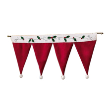 Santa Claus Hats Window Valance Christmas Decorations Xmas Curtain Decor Ornaments Red (Size: 35.43in 16.53in, Color: Red) - Enjoy Your Fashion living store