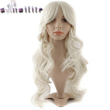 s-noilite Long Curly Cosplay Wigs Oblique Bangs Pink Black Red Purple Blonde Grey 60/80cm Synthetic Hair Wig Heat Resistant(China)