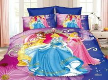 Princess bedding Sets Children's Baby Girls bedroom decor single twin size bed sheets quilt duvet covers 3pc Orchid Blue Colored