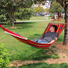 Portable Canvas Fabric Single Person Outdoor Furniture Hammock Double Spreader Bar Hammock Outdoor Camping Swing Hanging Bed(China)