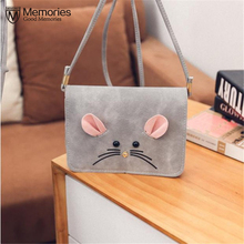 New Women Satchel Fashion Bag Cute Scrub Little Mouse Small Square Package Tote Messenger PU Leather Purse Shoulder Handbag(China)