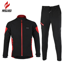 ARSUXEO Bike Wind Coat Winter Fleece Thermal Cycling Jacket Outdoor Sports Windproof Waterproof Jersey Warm Up Bicycle