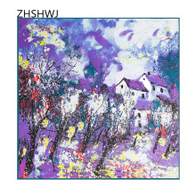 [ZHSHWJ] autumn and winter new 100% silk scarf oil painting house map fashion women's scarf silk shawl decorated square scarf