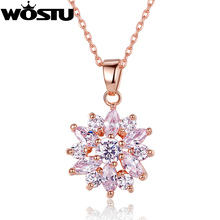 Aliexpress Hot Sale Gold Color Flower Pendant Necklaces For Women With High Quality Zircon Crystal Fashion Jewelry(China)