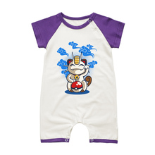 2017 Newborn Baby Clothes Short Sleeve Raglan Style Infant Rompers Meowth Cartoon Summer Toddler Clothing Bay Girl Boys Jumsuits(China)