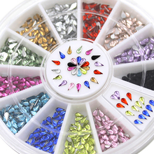 12 Colors 3mm Waterdrop Rhinestone Nail Art Salon Stickers Tips DIY Decorations with Wheel  5I2X