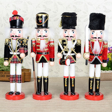4pcs 30cm Orignal Wood Hand made Nutcrackers soilder with sword kata home decoration accessories nutcracker Christmas gift
