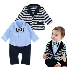 0-24 Months Newborn Gentleman Suits for Wedding Birthday Party 2017 New Formal Baby Romper Set Spring Autumn Infant Clothes